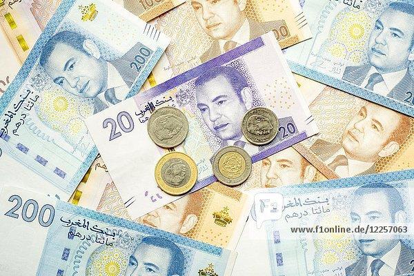Marokkanische Dihram Währung  Geld  verschiedene Stückelungen Dihram Banknoten und Münzen
