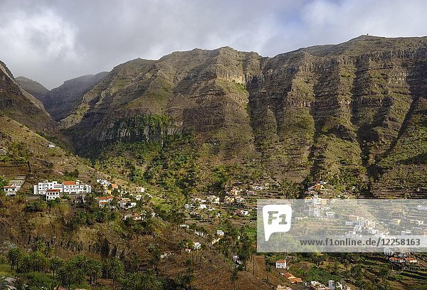 Oberes Tal mit Lomo del Balo  Valle Gran Rey  La Gomera  Kanarische Inseln  Spanien  Europa