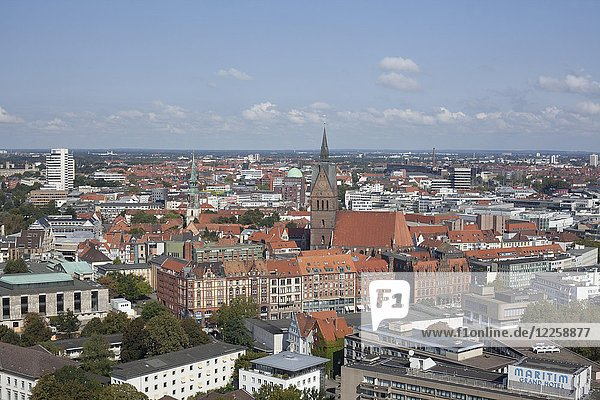 City centre with Marktkirche  view from the town hall tower  Hanover  Lower Saxony  Germany  Europe