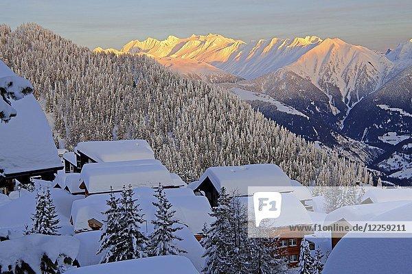 Ausblick über verschneite Chalets ins Rhonetal zum Blinnenhorn 3374m und Oberrappenhorn 3176m  Bettmeralp  Aletschgebiet  Oberwallis  Wallis  Schweiz  Europa