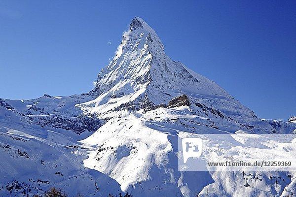 Matterhorn 4478m  Zermatt  Mattertal  Wallis  Schweiz  Europa