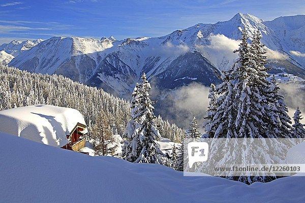 Winterlandschaft mit verschneitem Chalet  dahinter Bettlihorn 2993m  Bettmeralp  Aletschgebiet  Oberwallis  Wallis  Schweiz  Europa