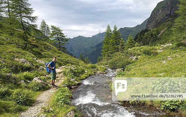Wanderer am Steinriesenbach  Wanderweg zur Gollinghütte  Schladminger Höhenweg  Schladminger Tauern  Schladming  Steiermark  Österreich  Europa