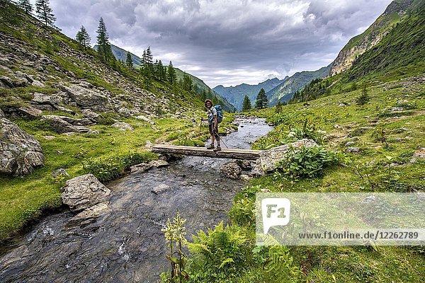 Wanderin auf einer Brücke über den Steinriesenbach  Wanderweg zur Gollinghütte  Schladminger Höhenweg  Schladminger Tauern  Schladming  Steiermark  Österreich  Europa