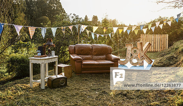 Empty decoration set for party in the field