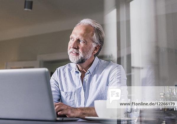 Porträt eines reifen Mannes  der am Tisch sitzt und den Laptop zu Hause benutzt.
