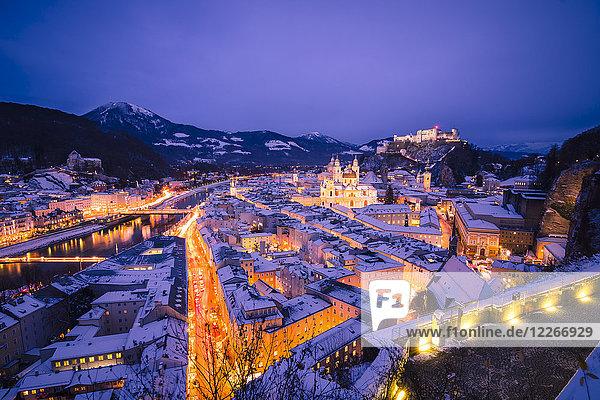 Österreich,  Salzburg,  Festung Hohensalzburg bei Nacht