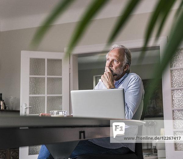 Nachdenklicher reifer Mann am Tisch sitzend mit Laptop im Wohnzimmer