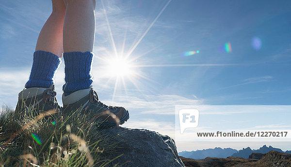 Hikers feet  Dolomites near Cortina d'Ampezzo  Veneto  Italy