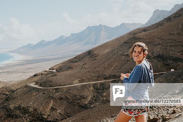 Woman enjoying view to sea  Corralejo  Fuerteventura  Canary Islands