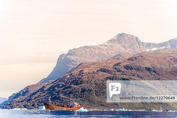 Fishing trawler at sea  Narsaq  Vestgronland  Greenland