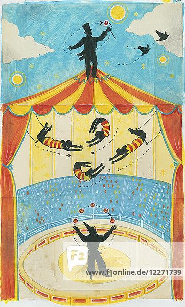 Zirkusdirektor oben auf dem Zirkuszelt
