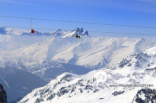 Glacier Du Bouchet  La Tyrolienne 3230m to 3002m  World's highest Zip-Line  Zip Wire Location  €50 per Person  Mountain Range  Haute Savoie  Trois Vallees  Three Valleys  Ski Resort  France  Europe
