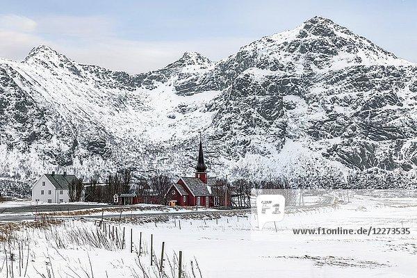 Flakstad Church  Lofoten  Norway  Europe.
