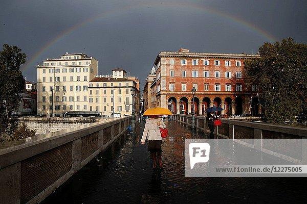 Rainbow over the Sisto bridge  Rome. Italy.