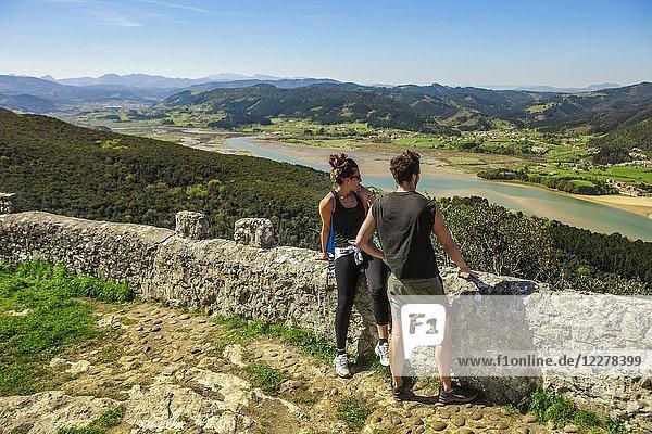 Urdaibai Estuary from San Pedro de Atxarre hermitage. Urdaibai Biosphere Reserve. Biscay  Basque Country  Spain.