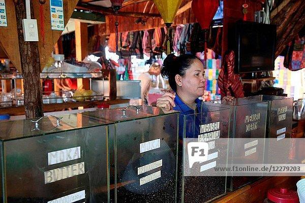 Vietnamese coffee sale in market. Dalat. Vietnam.