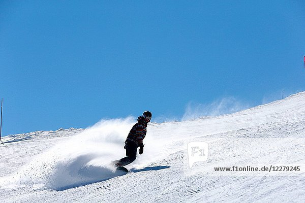 French Alps.Snowboarder France.