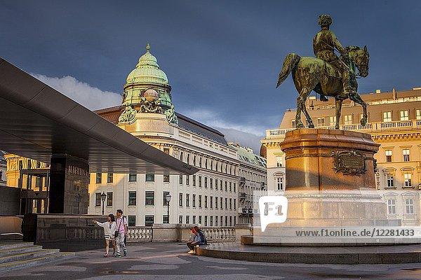Entrance to Albertina Palace museum. Equestrian statue (Albrecht Monument) Albertinaplatz Vienna  Austria  Europe.