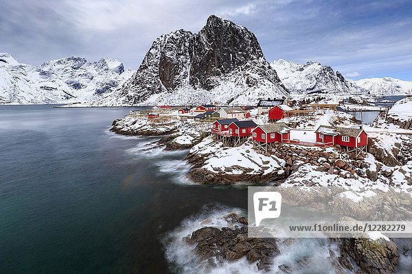 The small fishing village of Hamnoy in winter  Moskenes  Nordland county  lofoten islands  norway  europe.
