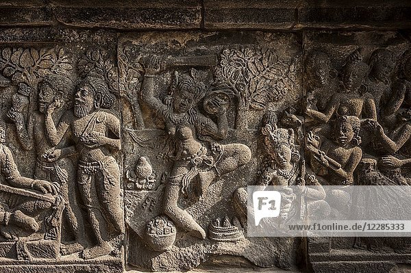Bas-relief in Prambanan Hindu Temple Coumpounds (UNESCO World Heritage Site)  Special Region of Yogyakarta Central Java  Indonesia.