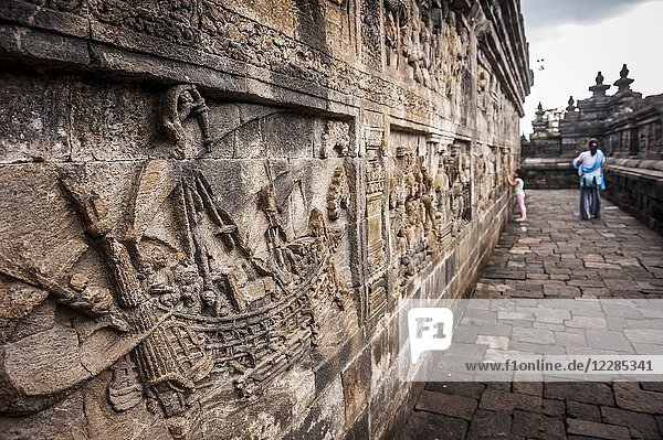 Bas-relief in Borobudur Temple  a UNESCO World Heritage Site in Magelang (Magelang Regency  Central Java  Indonesia).
