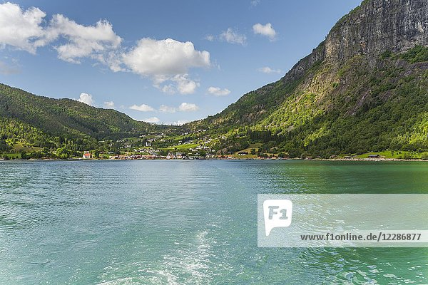 Panorama of Lustrafjorden and the village Solvorn  Norway  seaside view.