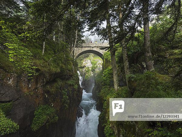 View of bridge Pont d'Espagne and river gave de Cauterets  France