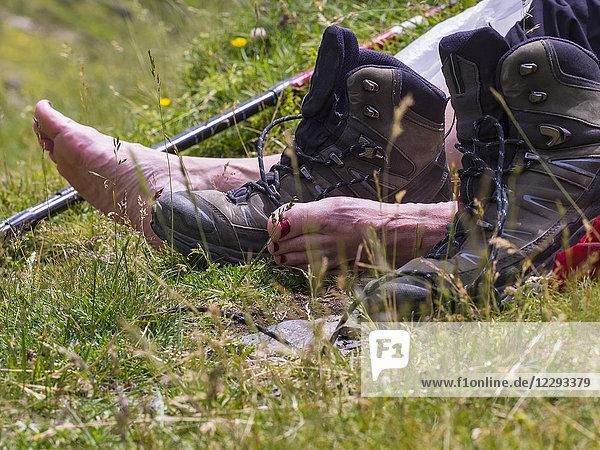 Low section of woman hiker taking a break  Gavarnie  France