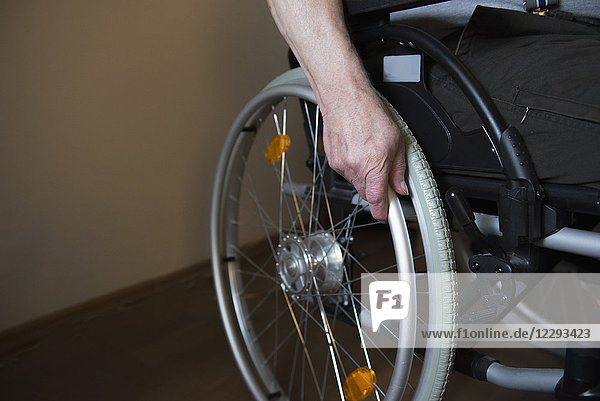 Close-up of a senior man in wheelchair
