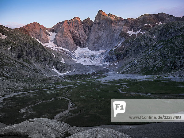 View of mount and glacier Vignemale  Cauterets  France