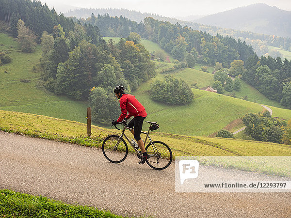 Man riding racing bicycle on cycling tour in the Southern Black Forest  Germany