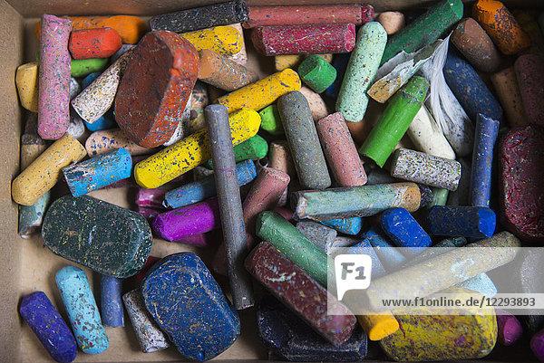 Close-up of a box of chalks  crayons  Munich  Germany Close-up of a box of chalks, crayons, Munich, Germany