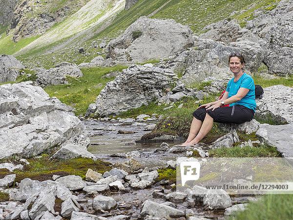Woman hiker taking a break  Gavarnie  France
