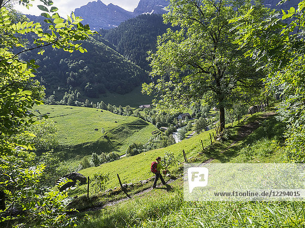 Woman hiking in the High Pyrenees on a single trail with view over Cirque de Gavarnie  France