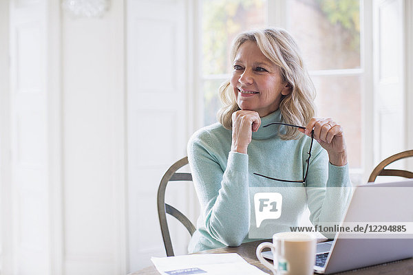 Smiling  ambitious mature female freelancer working at laptop at home