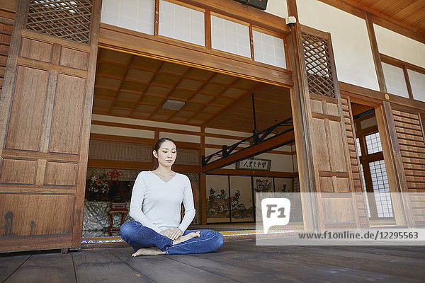 Japanese woman at a temple