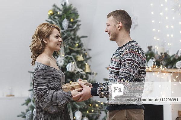 Seitenansicht des glücklichen Paares mit Geschenk am Weihnachtsbaum zu Hause