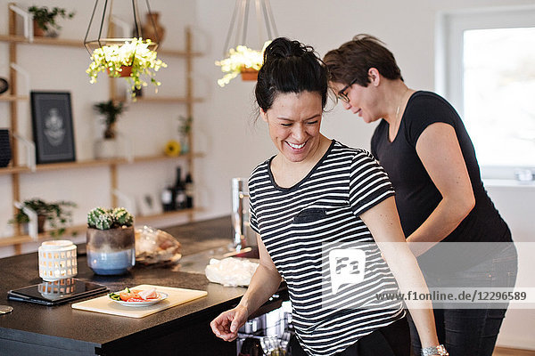 Smiling lesbian couple working in kitchen at home