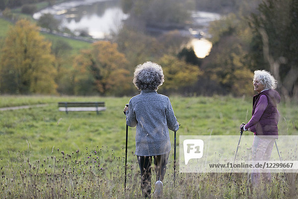 Active senior women friends hiking with poles in rural field