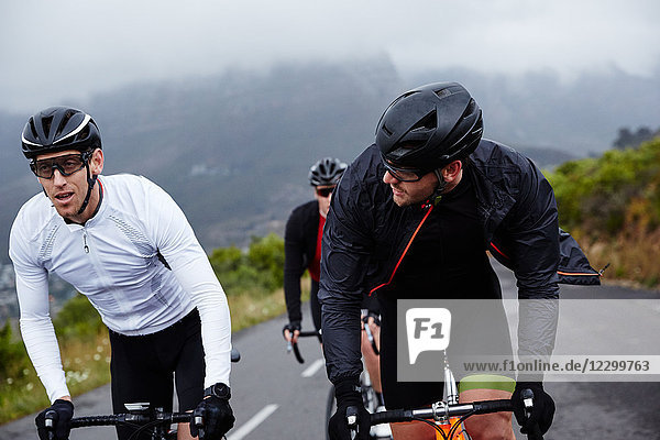 Male cyclist friends cycling on road