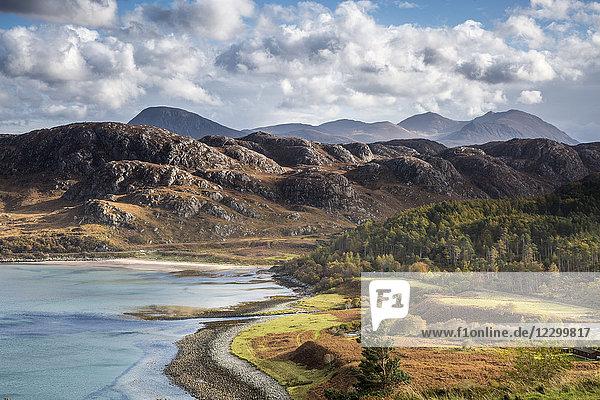 Craggy mountain landscape  Laide  Wester Ross  Scotland
