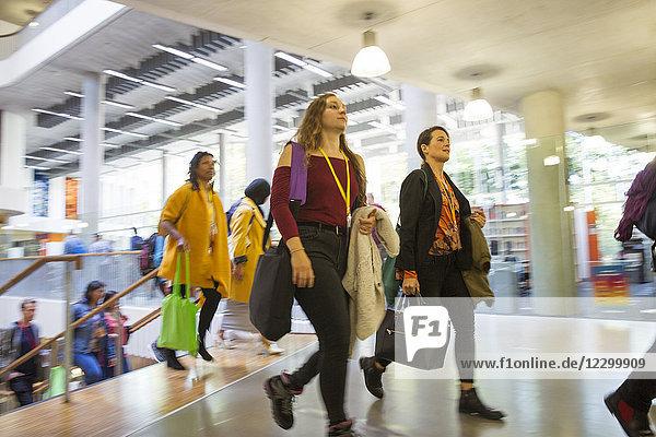 Businesswomen walking  arriving in office