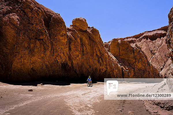 Adult woman riding bicycle in Death Valley during sunny weather  Chile