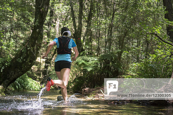 Rear view of mature woman trail running through stream in forest  Rancho Santa Elena  Hidalgo  Mexico