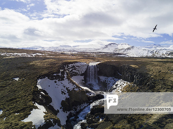 Aerial view of waterfall in Iceland