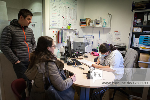 Reportage in the maternity  gynecology and obstectrics emergency service in the Métropole Hospital  Chambéry  France. A couple have come in for a consultation as the woman  who is 40-weeks pregnant  can't feel her baby moving as much as the day before.