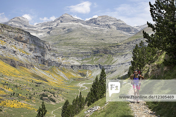 Front view of young female backpacker hiking in Ordesa y Monte Perdido National Park in Pyrenees with view of mountains in background  Huesca  Aragon  Spain