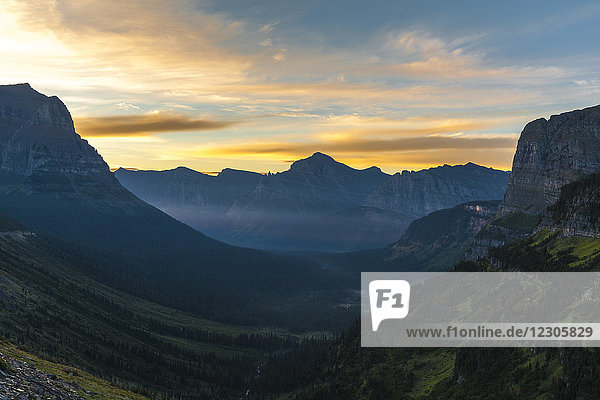 Scenic view of Glacier National Park valley at summer dawn  Montana  USA