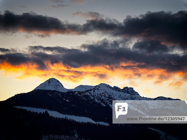 Majestic natural scenery of mountains in winter at sunset  Pemberton  British Columbia  Canada